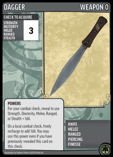 Dagger, Weapon 0. Knife, Melee, Ranged, Piercing, Finesse.