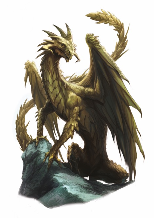 A huge brass dragon, covered with pointed scales and waving its huge tail behind it, rests its two front legs on a rocky crag.