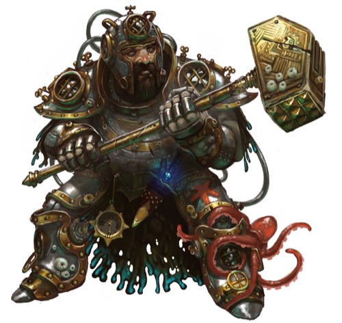 A male dwarf in heavy armor encrusted with barnacles that appears to be retrofitted as a deep-sea diving suit, wielding a huge warhammer in both hands and ignoring the small red octopus wrapped around his left ankle.