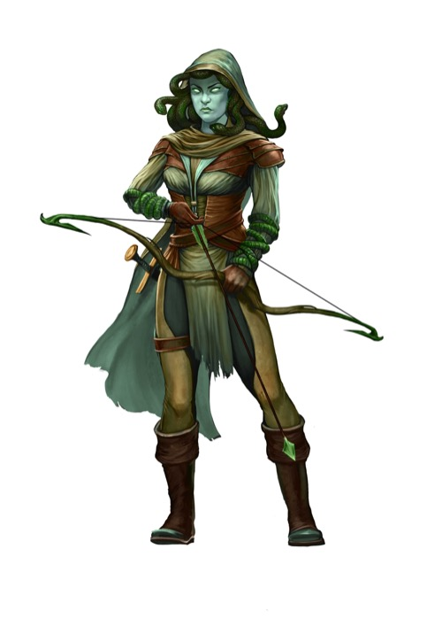 A cowled medusa carefully nocks a green-headed arrow in her longbow.