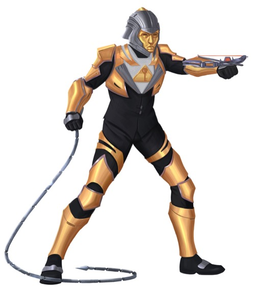 A humanoid clad in a full-body suit of gold and black Abadarmor wields a wrist-mounted crossbow in one hand and a segmented metal whip in the other.