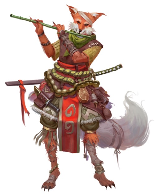 A fox-headed kitsune with a mischievous expression plays a long bamboo flute.