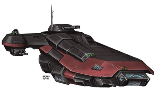 A sleek red-and-black Remorhaz starship.