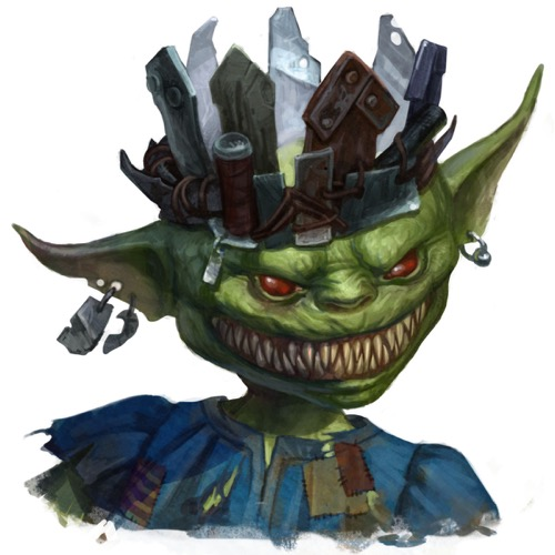 King Zusgut, a goblin wearing a crown fashioned from garbage and shards of metal, flashes a wide grin filled with needle-sharp teeth.