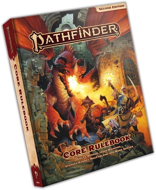 Pathfinder Second Edition Core Rulebook Cover with three adventures fighting a fire breathing dragon with weapons and spells.
