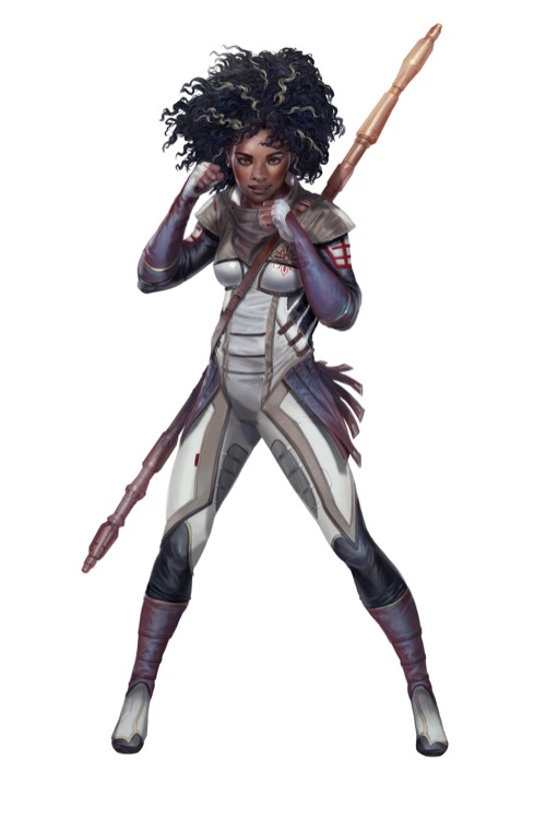 A combat mystic with a battle staff on her back is posed to punch with her wrecking fists from the Starfinder Character Operations Manual.