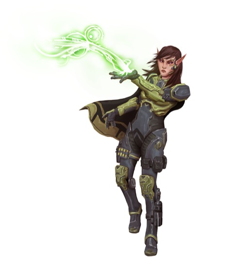 A wind-blown elf technomancer sends out flowing, spiraling magic from the palm of her hand from the Starfinder Character Operations Manual.