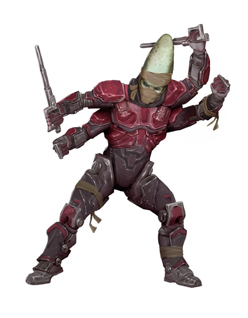 A four-armed and armored kasatha soldier poses to fight from the Starfinder Character Operations Manual.