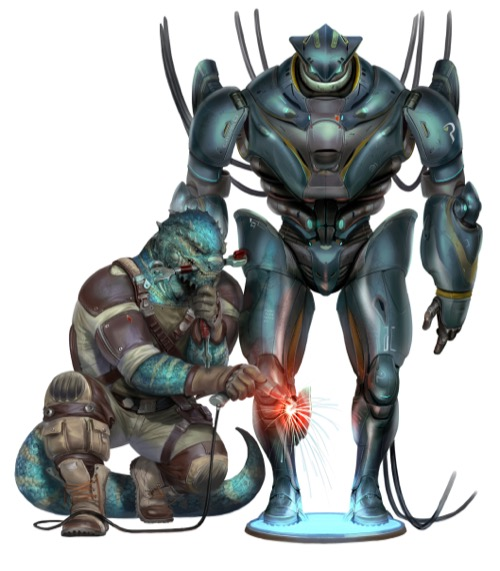 A reptilian vesk mechanic repairs an intimidating robot from the Starfinder Character Operations Manual.