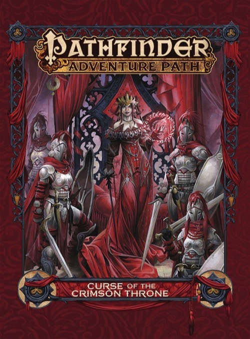 Cover of the Curse of the Crimson Throne Adventure Path featuring a queen standing before her throne with armored guards for the Pathfinder Adventure Card Game.