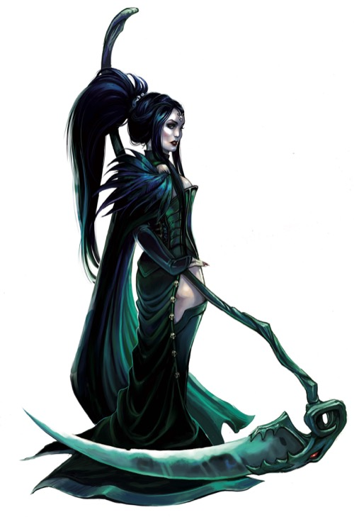 Image of Lady Andaisin, the head cultist of Urgathoa, with her two-handed scythe for the Pathfinder Adventure Card Game.