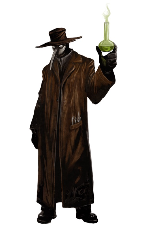 Image of a Queen's Physician in long coat, hat, long-nosed plague mask holding a vaporous beaker for the Pathfinder Adventure Card Game.