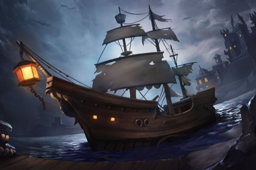 Image of a ship with tattered sails at night at port for the Pathfinder Adventure Card Game.