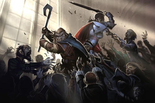 Image of Harsk, the iconic dwarven ranger, and Seelah, the iconic human paladin, fighting a zombie horde for the Pathfinder Adventure Card Game.