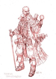 A sketch of the Investigator, a bald man of African decent with a cane in one hand and perhaps a magnifying glass in the other, for the the Pathfinder Second Edition Advanced Players Guide Playtest.