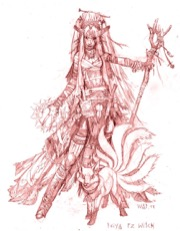 A sketch of the witch, a lithe woman of Asian decent with long hair, a wooden staff in one long finger-nailed hand and magic in the other, for the the Pathfinder Second Edition Advanced Players Guide Playtest.