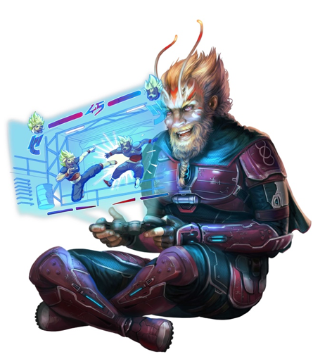 Velloro, the Iconic Vanguard, sitting cross-legged playing a 2D hologram martial arts combat game with a console in his hands and a smile on his face.