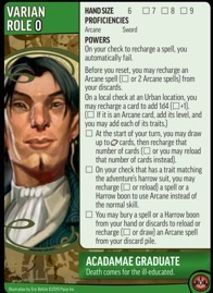 Role card of Varian, Acadamae Graduate, showing Powers for the Pathfinder Adventure Card Game.