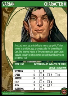 Back face of the Varian character card showing the Deck List for the Pathfinder Adventure Card Game.