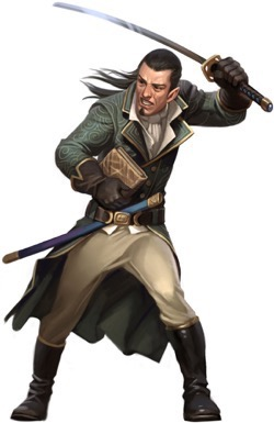 Illustration of Varian Jeggare, a half-elf with long hair pulled back and wearing a fine long coat, holds a book in one hand while swinging a sword high overhead for Pathfinder.