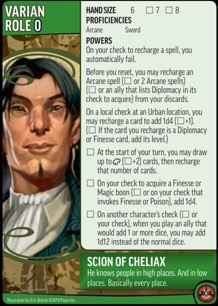 Role card of Varian, Scion of Cheliax, showing Powers for the Pathfinder Adventure Card Game.