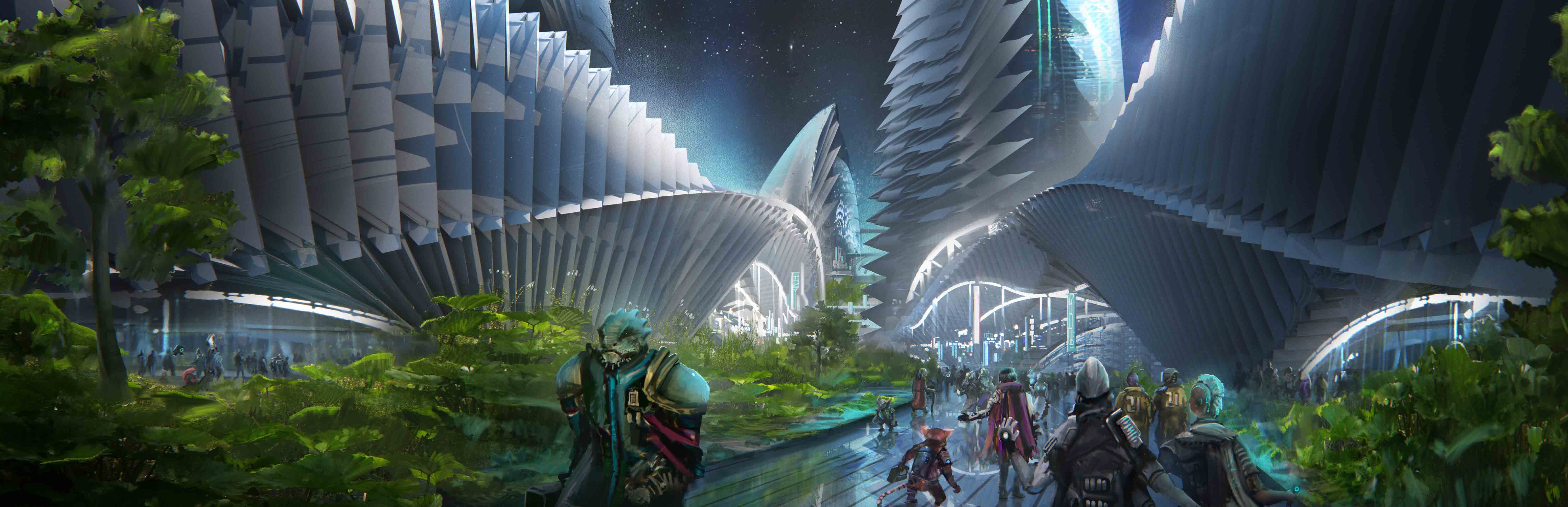 The open-air streets of Absalom Station bustle with diverse crowds of alien beings.