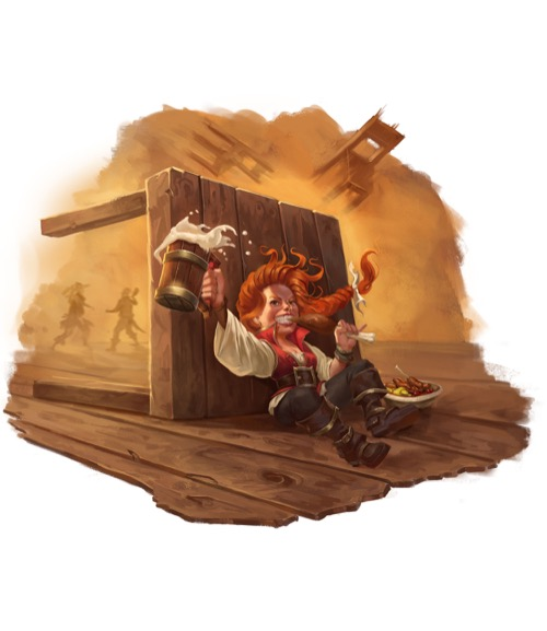 Halfling behind table for Pathfinder Society.