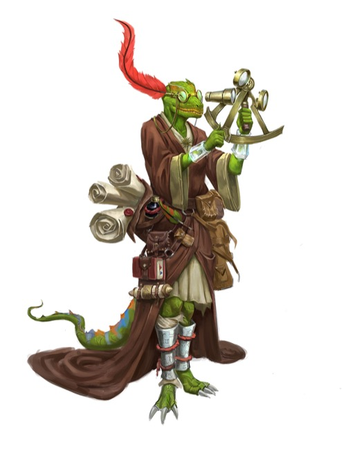 Iruxi Astrologer with a large red feather affixed to spectacles on its head, wearing brown robes and holding a sexton with many glass lenses for Pathfinder Society.