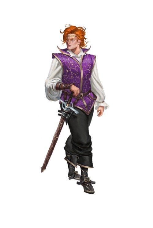 Young new King Edryd with wild red hair and a sword at his hip, dressed in noble finery, for Pathfinder Society.