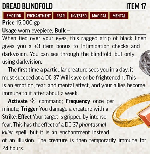 Text inset: Dread Blindfold. Item 17.