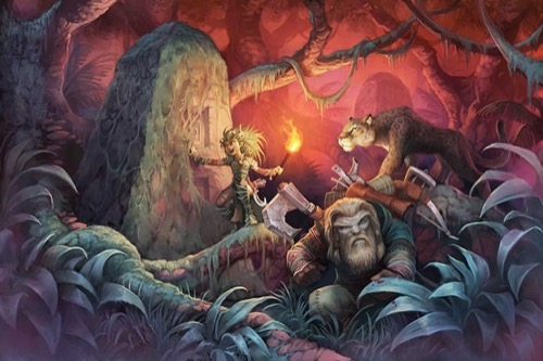 Digital artwork: Lush forest, night time. Aged vines and moss wrap around thick tree branches. In the foreground, Harsk, a gruff gnome ranger with long hair and an almost equally long beard, is peering out from behind large, leafy plants. Behind him, Lini - an excited-looking gnome druid, uses her right hand to brush back overgrown greenery from a stone column twice her height and half as wide. She holds a torch in her left hand, which lights the image in dark red. She has partially revealed square-shaped carvings in the side of the column. Behind her - to the right - her snow leopard companion Droogami, looks  to see what she's discovered.