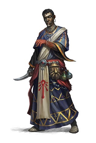 A dark skinned magic warrior clothed in dark purple robes with gold trim. He has symbols painted in white on his face and carries a curved knife in his right hand.  His left hand is red up to his mid-forearm.