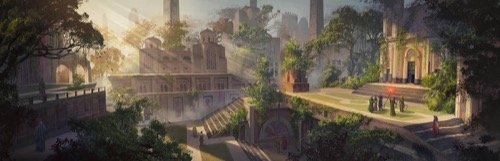 Several terraced buildings in the late afternoon sun, the light filtering down from the upper left. The buildings are surrounded by leafy trees and plants grow on the sides of the buildings and terraces. On the right, the terrace in front of a building is neatly manicured and has a small group of people in robes gathered. One holds a staff with a glowing red end up to the sky as the others look on. A cloaked, hooded person watches from the stairs leading up to the terrace.