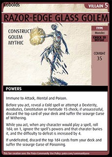 Adventure Card Game card: Razor-Edge Glass Golem. Villain 5. Construct. Golem. Mythic.