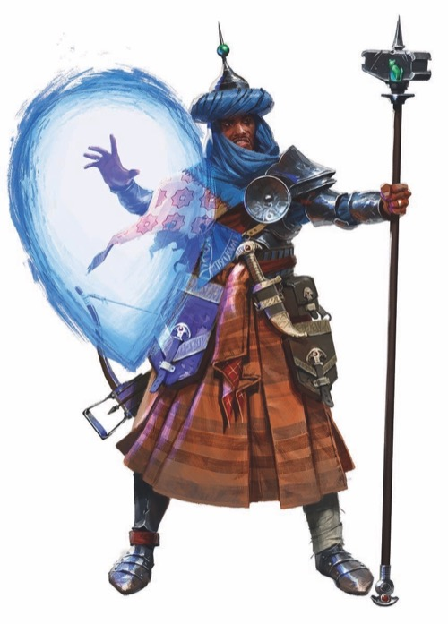 Wizard archetype. A dark-skinned man with a thin mustache holds his right hand out, casting an upside down teardrop-shaped glow of blue. In his left hand, he firmly holds a pointed staff upright. It stands taller than him and near the top it has a rectangular, almost hammer shaped section with a sitting green cat on the side. The man is dressed in pleated brown robes with wide complementary stripes, and wears steel shoes. A wide belt carries two buckled pouches on his left side, one smaller than the other. He wears a piece of shoulder armor secured by by a wide dark red sash with a silver disc attached to protect his joints and has a rolled headscarf that is topped by a conic, pointed hat with a green ball near the top of the point. He appears to be wearing a shoulder wrap that is white with pink flowers underneath his headscarf.