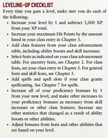 Leveling-up Checklist. Every time you gain a level, make sure you do each of the following: 