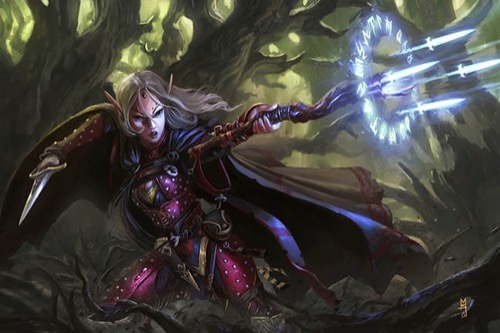 A female elf in studded dark red armor is shown in active battle in the woods, dark old trees looming in the background and thick vines up to her knees. She has long, flowing white hair and a dark green gem in the middle of her forehead. In her right hand she wields a dagger that looks deadly despite its ornate engraving on the blade, and in her left hand she is pointing a crooked short staff at her attacker and several glowing blue energy knives are bursting out of it from a circle of runes.