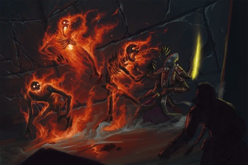Three flaming skeletons with mouths open wide attacking a 4-armed, bipedal alien with grey skin and an angular face and dark pits for eyes. The alien's upper left arm is wielding some sort of yellow energy bolt. The silhouette of another adventurer looking on in horror can be seen in the foreground.