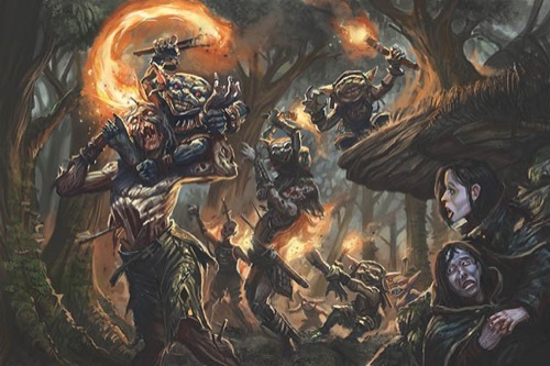 A path through deep, old woods. It appears to be night time. In the foreground right, a pair of females in cloaks are tucked away behind large tree roots, staring in horror at the path where a string of undead with arrows in their abdomens, are being attacked by torch-wielding goblins. The undead in the foreground has a gleeful goblin sitting on its shoulders, legs wrapped around the undead's neck as it tries to light fire to its head.