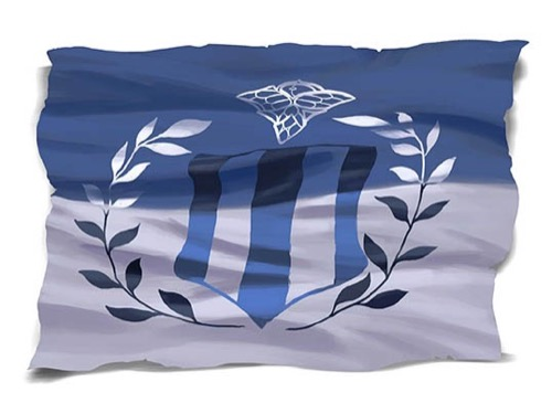 A flag with the top half colored blue and the bottom half colored silver. The center of the flag has a shield emblem that is pointed at the bottom. Two vertical blue stripes run vertically down each side of this shield and one down the center. A set of black and white laurel branches are set at the bottom of the shield and rest of each side.  Above the shield is a silver diamond-shaped symbol incorporating wings for the three lower points.