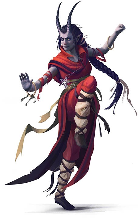 A grey-skinned humanoid female with long, thin ridged horns, arms up and one knee raised in a battle stance. Long dark hair is pilled back from the face in a braid past their waist. They are clothed in red monk robes and pants, with white lower leg coverings bound by criss-crossing straps from their leather shoes. A simple bangle bracelet adorns each wrist.