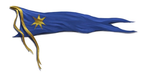 A horizontal royal blue pennant flag with a 7 pointed gold star on it. Two matching gold ribbons hang freely from the top of the straight edge.