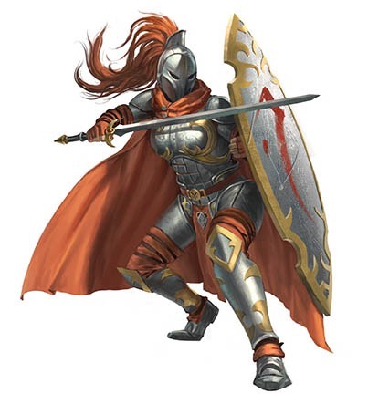 The Gray Maiden. A fully armoured warrior with a matching shield almost as tall as they are. The shield is pointed at each end, edged in gold, and has a rune in red across the front. The Gray Maiden also wears an armoured face mask, a plume of red hair flowing from the back. Her cape is almost the same color as her hair. She wields a long sword in her right hand.