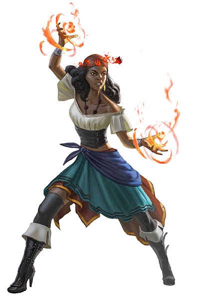 A dark-haired woman in layered blue and gold skirts, knee-high cuffed pirate boots, an off the shoulder short-sleeved blouse, and a necklace stands with both hands extended, prepared for battle. Fire is gathering in each of her palms.