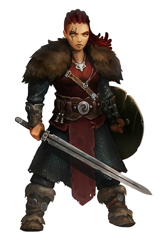 Thira Ash-Eyes. A stout woman wielding a round wooden shield and a plain longsword. Her dark red hair is pulled back in neat dreadlock rows. She has a jagged tattoo across her right eye and wears a fox-head medallion. Both shoulders are clothed in heavy brown furs and she wears thick brown boots strapped with brown leather and round buckless