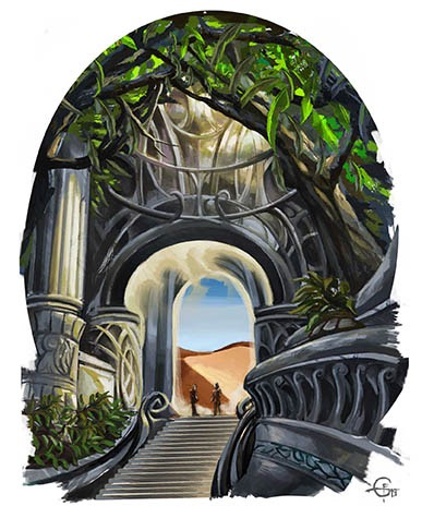 Aiudara, elegant elven gates intertwined with nature.
