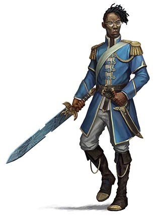 Eagle knight in a light blue jacket with gold epaulets, white pants, and knee-high black boots with a gold chain attached to the top. The right hand wields a long, engraved broad sword.