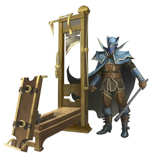 Final blade, which looks similar to a fancy guillotine. A fully armored person stands next it, holding a long metal rod.