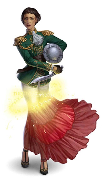 The deceptive Lion Blade, in the process of using magic to change its appearance from a young person in military uniform to one in a flowing dance skirt.
