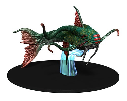 3d sculpt of an algholithu miniature: a green fish-like creature with red fins and 4 tentacles sprouting near its front. It has three red eyes lined up vertically in the front of its face.